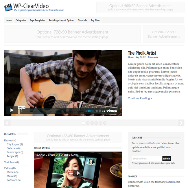 WP-ClearVideo Premium WordPress Theme