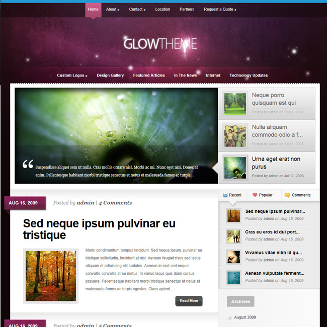 Glow – WordPress Theme for Blog or Managazine