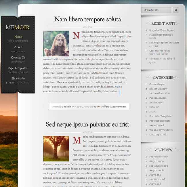 Memoir WordPress Theme for Blog