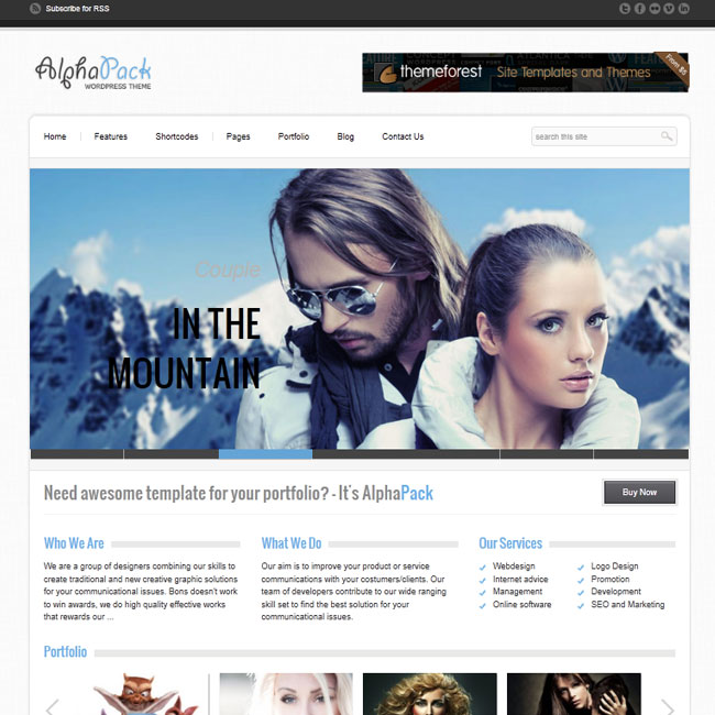 Alphapack – Cool Portfolio WordPress Theme