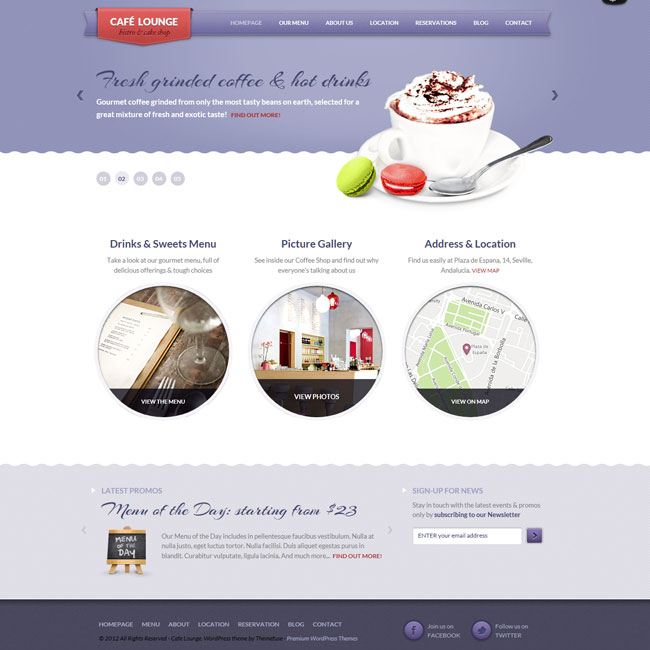 Coffee Lounge – Bar, Coffee Shop WordPress Theme