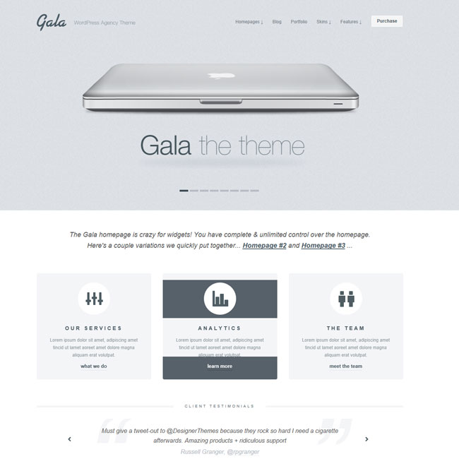 Gala – Fully Responsive WordPress Theme for Business/ Agency