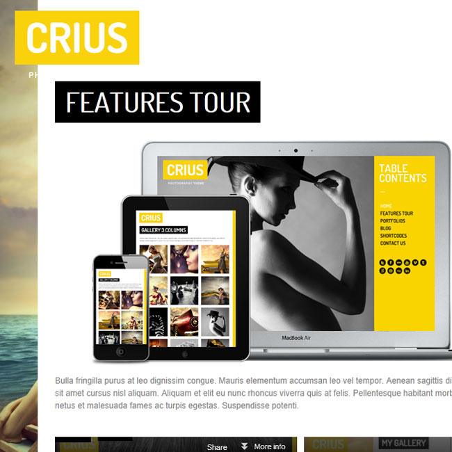 Crius Responsive Photography Creative Portfolio Theme | Premium WordPress Themes