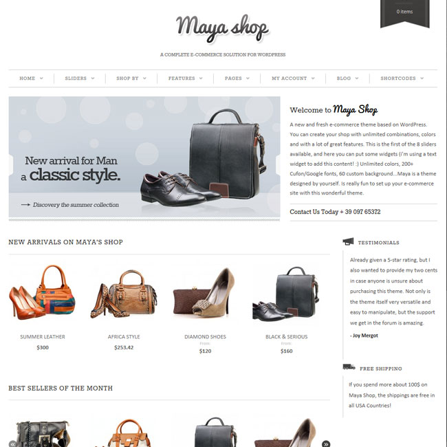 MayaShop – WordPress Theme