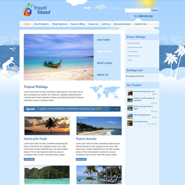 Travel Island - Responsive e-Commerce WordPress Theme