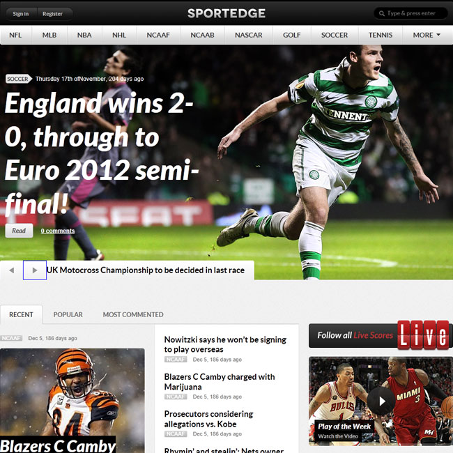 Sportedge Sport WordPress Theme