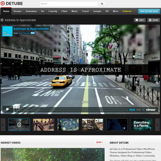 deTube – Professional Video WordPress Theme