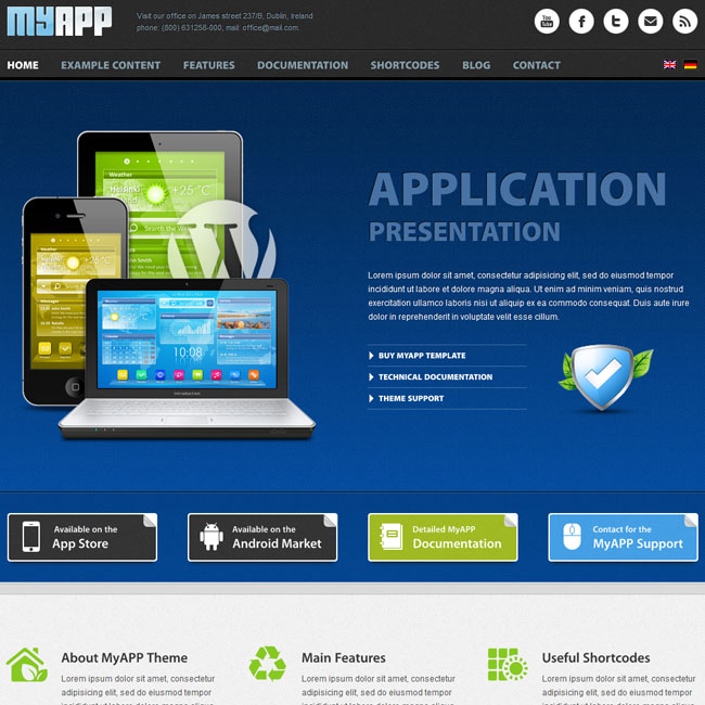 MyApp WordPress Theme for App Developers