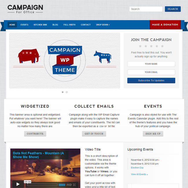 Campaign WordPress Theme for Political Website