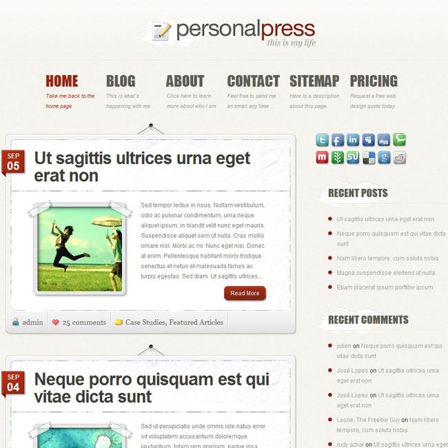 PersonalPress WordPress Theme by Elegant Themes