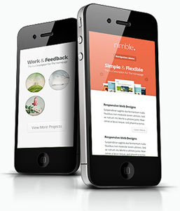 Nimble WordPress Theme - on iPhone