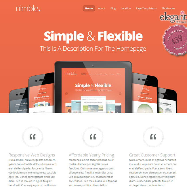Nimble WordPress Theme by Elegant Themes
