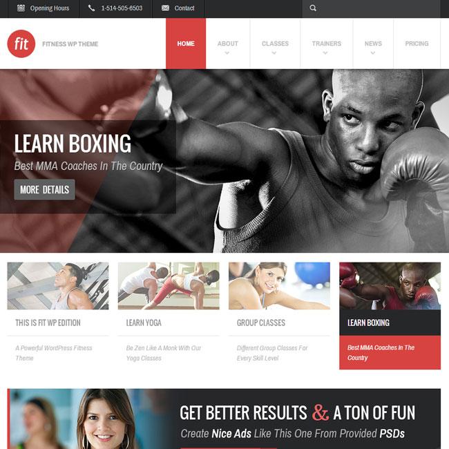 Fit Fitness Gym Wordpress Theme Best Wordpress Themes 2020