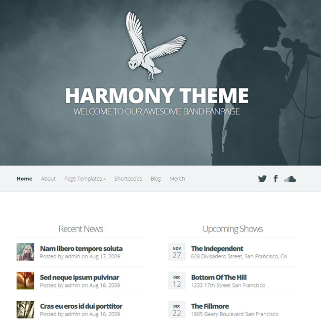 Harmony Band WordPress Theme by Elegant Themes