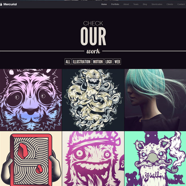 Mercurial One page WordPress theme