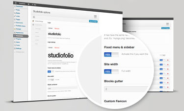 Backend of Studiofolio WordPress Theme