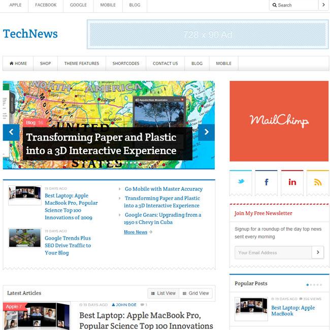 TechNews WordPress Theme for Blog