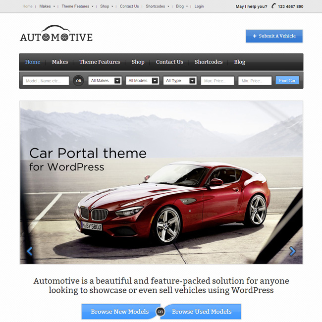 Automotive WordPress theme by Templatic