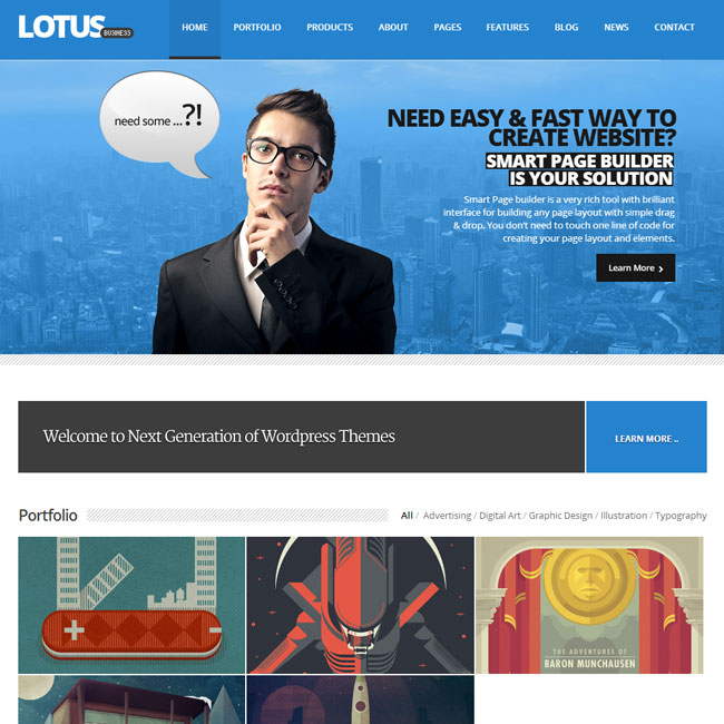 Lotus WordPress Theme for Multipurpose Websites