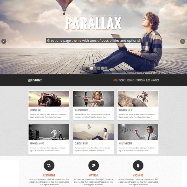 907 Parallax One Page WordPress Theme