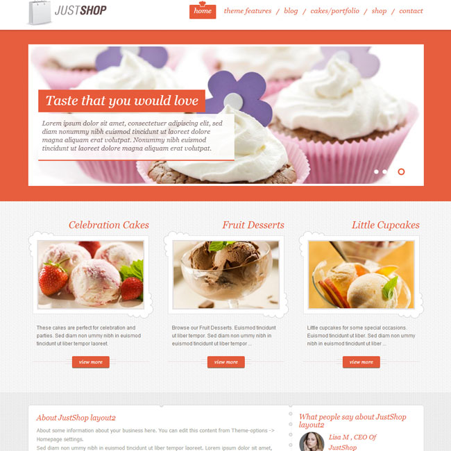 JustShop eCommerce WordPress theme