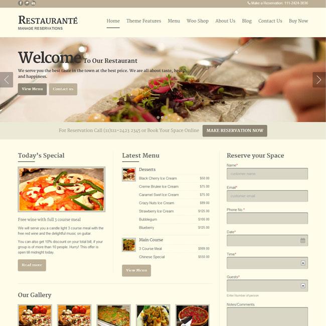 Restaurante WordPress Theme for Restanrant