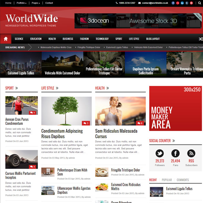 World Wide Magazine WordPress Theme