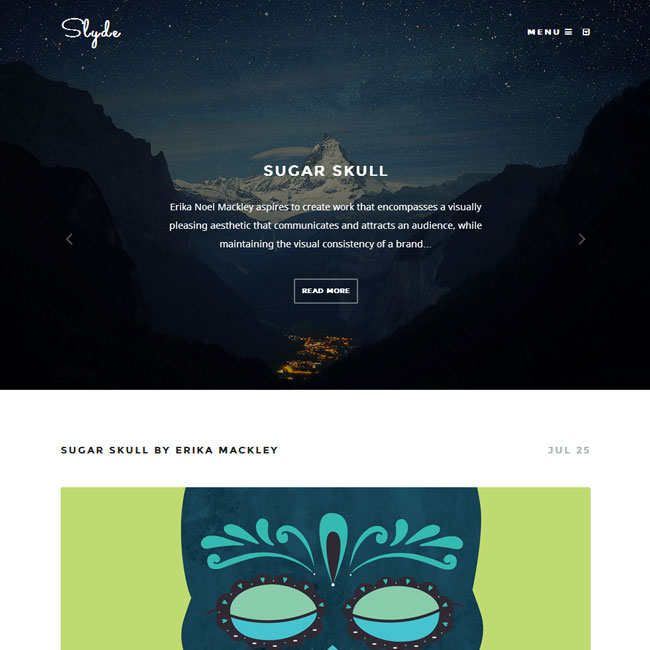 Slyde WordPress Theme for Writer
