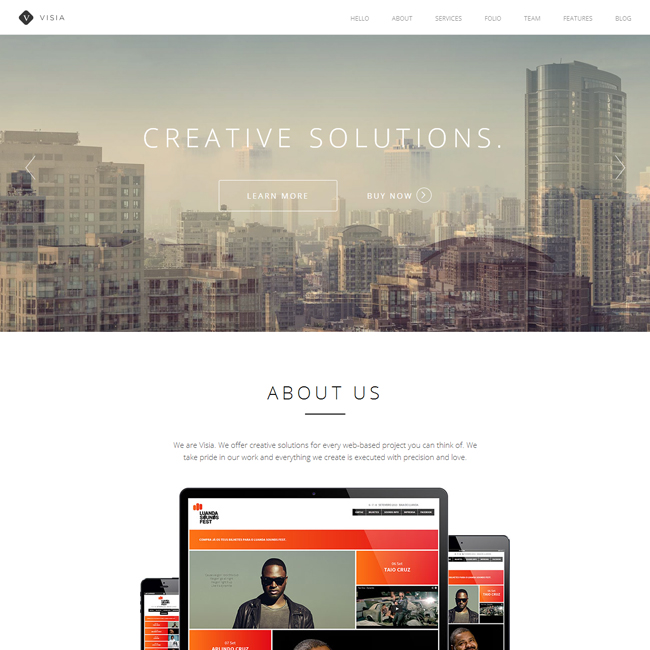Visia One-Page WordPress Theme