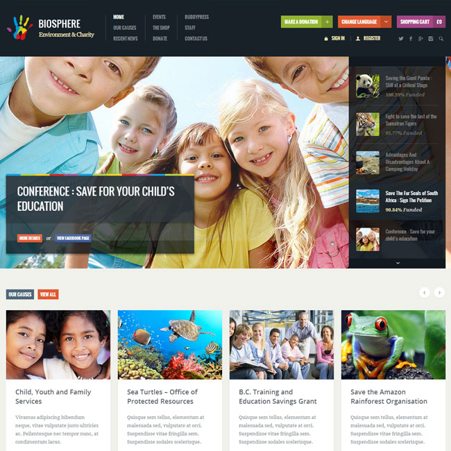 Biosphere Charity WordPress Theme