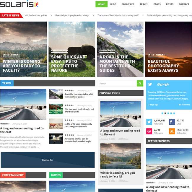 Solaris Magazine WordPress Theme