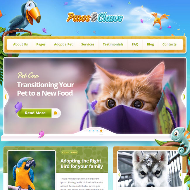 Paws and Claws WordPress Theme by ThemeFuse