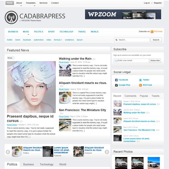 CadabraPress Blog and Magazine WordPress Theme