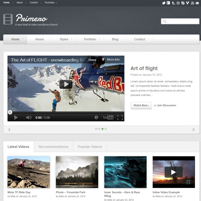 Primero - WordPress Theme for Video or Photography Website | Premium WordPress Themes
