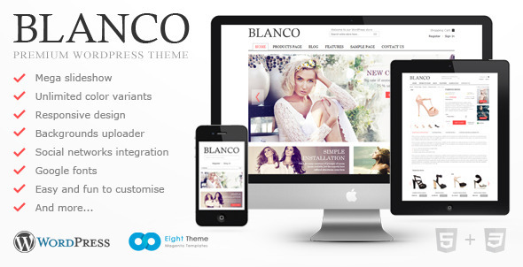 Blanco ecommerce WordPress theme preview