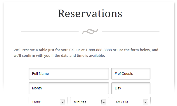 table reservation form template elcho table