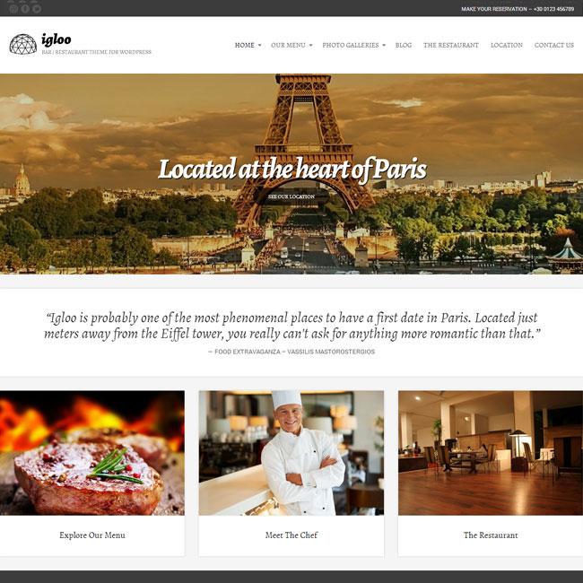 Igloo WordPress Theme for Restaurant