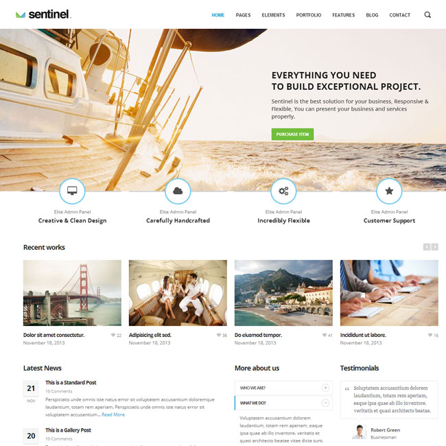 Sentinel WordPress Theme for Multipurpose Websites