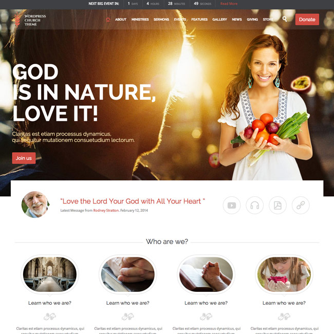 Church and Events WordPress Theme