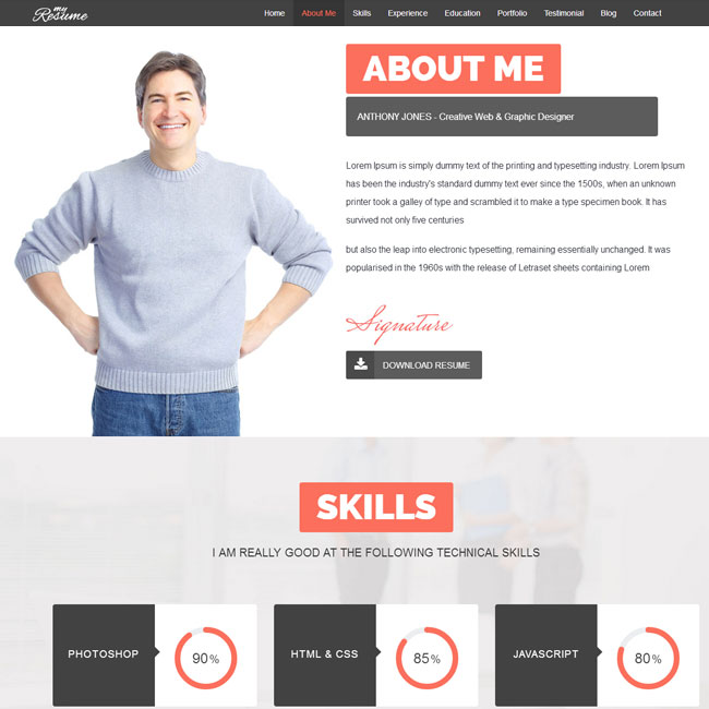 ResumeX Portfolio WordPress Theme