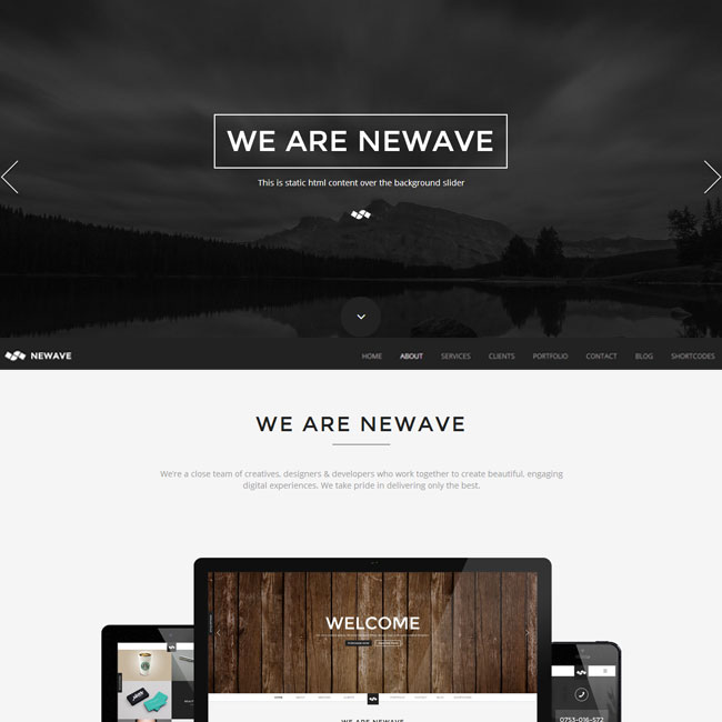 Newave WordPress Theme with One Page Parallax Design
