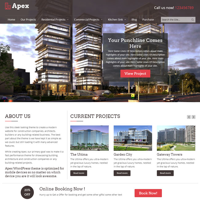 Apex Construction WordPress Theme by Templatic
