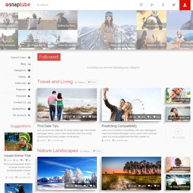 Snaptube Video WordPress theme